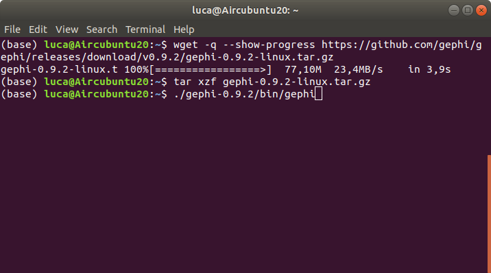 Terminal with commands to install Gephi